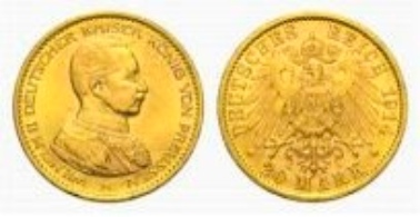Prussia, Wilhelm II, 20 Mark 1914 A.