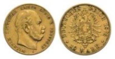 Preußen, Wilhelm I., 10 Mark 1875 C.
