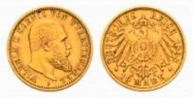 Württemberg, Wilhelm II., 10 Mark 1898 F.
