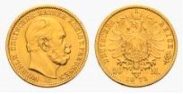 Prussia, Wilhelm I, 20 Mark 1878 C.