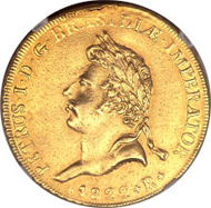 23733: Pedro I gold 6400 Reis 1822-R, KM361, VF Details NGC (mount removed), Ex-Eliasberg, struck for the coronation of Pedro I. Extremely rare. Estimate: $100,000 - $150,000. Realized: $138,000.