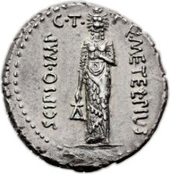Q. Caecilius Metellus Pius Scipio (47-46 BC). AR denarius (20mm, 3.83 gm, 9h). Crawford 460/4. Toned. Extremely Fine. Estimate: $4,500-5,500. Realized $27,600.