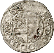 Solms-Lich. 1/2 batzen 1588, Lich, with title of Rudolph II. 1.14 g. Joseph 22 s. From auction Künker 212 (June 19, 2012), 4001. Estimate: 20 euros. This piece was minted in cooperation by the sons of Count Reinhard I, the brothers Ernst I, Eberhard and Hermann Adolph.