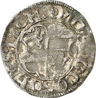 Solms-Lich. 1/2 batzen 1594, Lich, with title of Rudolph II. 1.19 g. Joseph 54 g. From auction Künker 212 (June 19, 2012), 4003. Estimate: 20 euros. This piece was minted jointly by the sons of Count Reinhard I, the brothers Eberhard and Hermann Adolph as well as the four sons of late Count Ernest I, Reinhard II, George Eberhard, Ernest II and Philip.