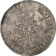 Solms-Hungen and Solms-Greifenstein. Reichstaler 1623, Hungen, on the alleged Hungen yield. 28.66 g. Dav. 7743. Example from the Paul Joseph Collection. From auction Künker 212 (June 19, 2012), 4249. Estimate: 4,000 euros. Minted by Wilhem von Solms-Greifenstein and Reinhard von Solms-Hungen.