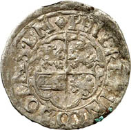 Kipper-3-kreuzer 1621, Butzbach, with title of Ferdinand II. Joseph 226 l. From auction Künker 212 (June 19, 2012), 4052. Estimate: 25 euros. Minted by Count Philip Reinhard I.