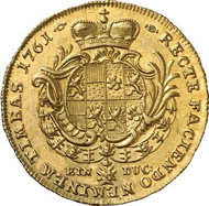 Solms-Laubach. Ducat 1761, Hanau. 3.48 g. Joseph 449. From auction Künker 212 (June 19, 2012), 4204. Estimate: 5,000 euros.