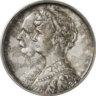 Solms-Baruth. Silver medal 1906 by R. Otto on the Silver Wedding of Prince Friedrich, 1904-1920, with Louise, Countess von Hochberg, on September 10. From auction Künker 212 (June 19, 2012), 4245. Joseph 464. Estimate: 100 euros.