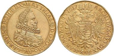 1904: Matthias II. 1612-1619, GOLD, 15 Dukaten 1617 Kremnitz, Mm. Georg Fleisch. MzA 104. Horsky 1507 (= dieses Exemplar). = 52,45 g einziges bekanntes Exemplar. Rufpreis 75.000 Euro, Ergebnis: 122.000 Euro.