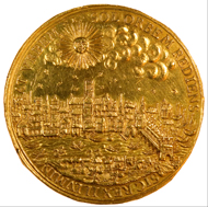 Gold medal of London, struck in 1633, by Nicolas Briot. Coins and Medals, the British Museum.
