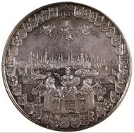 Silver medal of Amsterdam, struck in 1655. Coins and Medals, the British Museum.