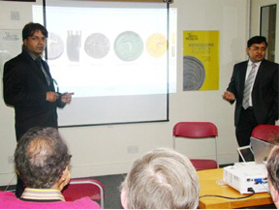 Ujwal Saha and Akshay Jain presenting their lecture on Gupta coins at the ONS meeting at the British Museum, London, November 2011.