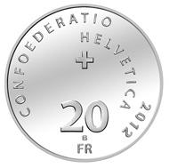 Schweiz / 20 CHF / .835 Silber / 20 g / 33 mm / Design: nach Robert Lips / Auflage: 50.000 Polierte Platte und 7.000 Normalprägung unzirkuliert.