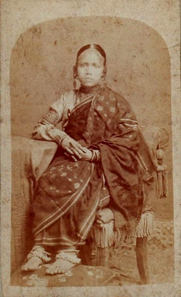 Young girl from Bengal c. 1880 wearing golden earrings, anklets and bracelets. Source: Wikipedia.