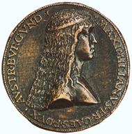 Maximilian I., sog. Hochzeitsguldiner, nach 1511, Stempel von Ulrich Ursenthaler. Silber, geprägt; Dm 43.5 mm. Bern, Historisches Museum, Inv. 2006.9.