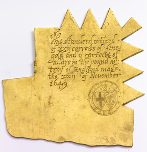 A so-called trial plate from 1649 to test the colour of the freshly minted gold coins to ensure its correct composition.
