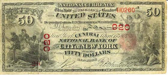 Counterfeit $50 national currency note, first charter period, issued by the Central National Bank of New York City, 1864 (one side copy). Courtesy of the USSS.