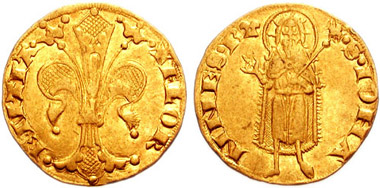 Florentine gold florin. 1252-1422. 20mm. 3.49 g. Nerio Lippo, mintmaster. Struck second Semester 1347. Source: (C) Classical Numismatic Group, Inc. http://www.cngcoins.com license: http://creativecommons.org/licenses/by-sa/3.0/deed.en