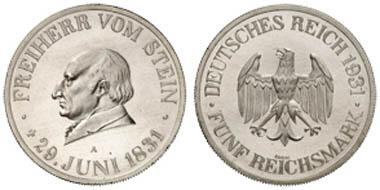 Los 391: FREIHERR VOM STEIN, Motivprobe zu einer nicht ausgeführten 5 Reichsmark 1931A, Schaaf 348 a vgl., st. Zuschlag: 5.200 Euro, Ausruf: 1.500 Euro.