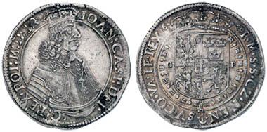 Los 607: POLEN, Johann Kasimir, 1649-68, Taler, 1649, Krakau, Kopicki 1815, kl. Zainende, 28.41 g, RR, ss/fast vz. Zuschlag: 13.000 Euro, Ausruf: 2.500 Euro.