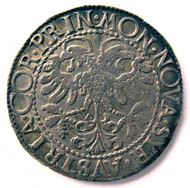 Imitation of a Schaffhausen dicken by Prince Siro of Austria (1616-1630) from Correggio (Italy). Testone (6.85 g) no date. MON NOVA SYR AVSTRIA COR PRIN double-headed eagle with nimbus. Rv. LAQVEVS CONTRITVS EST Lion jumping from a tower to left. (CNI IX, 67; Kunzmann 28,1 g; Gamb. 46). Copyright Sturzenegger Stiftung / Museum zu Allerheiligen Schaffhausen.