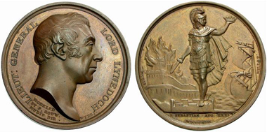 1813 Medal by Webb and Mills of the capture of San Sebastian by the English and Portuguese. From auction MMDe 24 (2007), 1312.