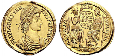 No. 518: ROMAN COINS. Constantius II (337-361). Gold medallion of 2 solidi, 353, Arelate. RIC 225. Extremely rare. Solder mark on the obverse. Extremely fine specimen. Estimate: 20,000 EUR / Sold for: 21,000 EUR.