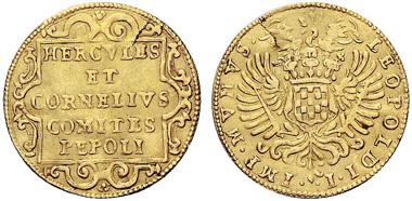 Nr. 1160: ITALIEN. Castiglione de' Gatti. Hercules und Cornelius Pepoli (1700-1703). Scudo d?oro o. J. (1700). CNI 1. Sehr selten. Sehr schön. Taxe: 5.000 EUR / Zuschlag 13.000 EUR.
