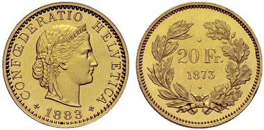 Los 57: Schweiz. 20 Franken 1873/1883, Schätzung: 100.000, Zuschlag: 260.000.