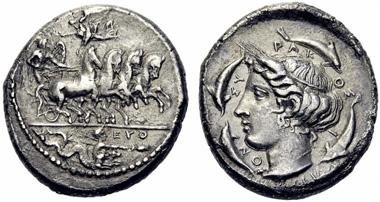 Los 107: Syrakus, Tetradrachme des Phrygillos. Schätzung: 9.000, Zuschlag: 15.000.