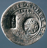 Jefímok, Schaffhausen, taler 1621. MONETA NOVA SCAFVSENSIS. Ram jumping from a tower to left. Rv. DEVS SPES NOSTRA EST Eagle, above crown. On the obverse two countermarks: tsar with spear riding to the right, indication of the year 1655. (Wiel. 708). Copyright Sturzenegger Stiftung / Museum zu Allerheiligen Schaffhausen.