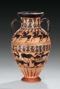 24 WALTZ COLLECTION. Tyrrhenian neck-amphora of the Castellani Painter. 560-550 BC. H. 40.3 cm. Estimate: 15,000 / Final Price: 115,000 EUR.
