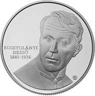 Sondermünze zu Ehren von Dezsö Kosztolányi. Feingehalt: 925 Ag;; Durchmesser: 38,61 mm; Gewicht: 31,46 g.; Nennwert: 5.000 HUF; Designer: István Holló.