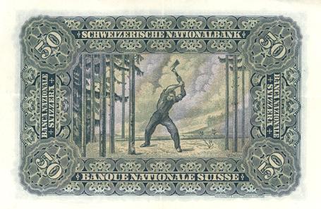 50 Franken von 1910. Entwurf Ferdinand Hodler. © Museum zu Allerheiligen Schaffhausen.