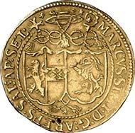 SALZBURG. Marcus Sitticus II. von Hohenems, 1612-1619. Goldgulden 1619. Stifts- und Familienschild unter Legatenhut. Rv. Stehender hl. Rupert. Probszt 946. Aus Auktion 127 (2005), 332.