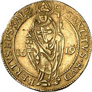SALZBURG. Marcus Sitticus II of Hohenems, 1612-1619. Gold gulden 1619. Shield of diocese and family under legate hat. Rev. Standing Saint Rupert. Probszt 946. From auction sale Numismatik Lanz 127 (2005), 332.