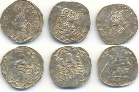 Bamberger Dünnpfennig unter Hermann II. (1170-1177) (Silber, ca. 1172-1174, HM Bamberg, Inv. Nr. 10/3768). 2006/07 wurde ein neuer Pfennigtyp bekannt, dessen Umschrift sich auf Bischof Hermann II. (+ HERMANNVS EPISCOPVS) bezieht. Ab Herbst 1174 hielt sich der Bischof mit dem Kaiser in Italien auf, der neu aufgefundene Pfennigtyp dürfte zuvor ausgegeben worden sein. Die Datierung ist zwischen der Erteilung der Weihen und der Titelverleihung (vor 1172) und dem Sommer 1174 anzunehmen.