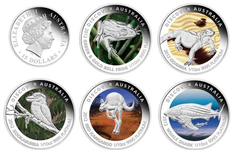 Each coin: Australia / 15 AUD / 10oz .9995 platinum / 3.112 g / 16.60 mm / Mintage: 1,000 (each) and 1,000 5-coin-sets.