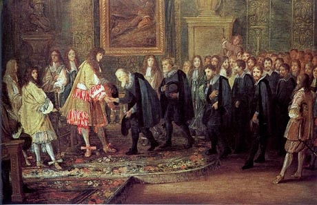 In 1633 Louis XIV receives a delegation of the Swiss Confederacy led by Johann Heinrich Waser. Painting by Adam Frans van der Meulen. Source: Wikipedia.