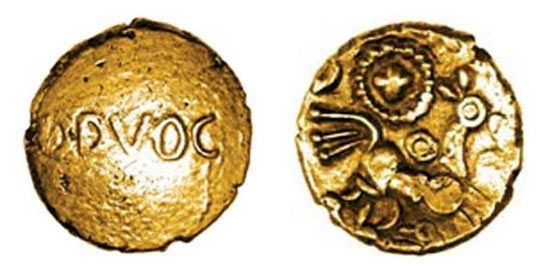 Bodvoc Suncross gold quarter stater, c.25-5 BC. New type, previously unrecorded, 11 mm, 1.27 g. To be sold by Chris Rudd, 10 September 2012. Photo: Chris Rudd.