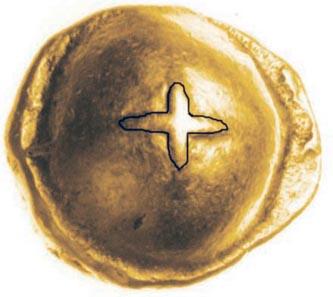 Das Sonnenkreuz des Bodvoc könnte von einem importierten Kugelkreuz-Goldstater der Seno-Carnutes, ABC 94, inspiriert worden sein oder von einer Nachahmung auf der Insel. Foto: Chris Rudd.