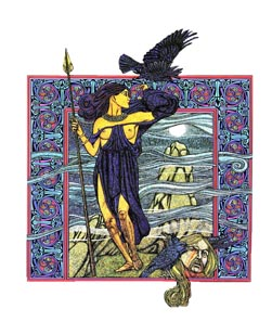 Bodvoc's name ('battle-crow') is linked to that of the Irish war-goddess Badbh, one of the three aspects of the shape-shifting Morrigan ('phantom queen'). Source: Painting © Courtney Davis, www.courtney-davis.com.