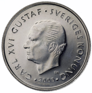 The authentic 1-krona coin from 2009. Source: Riksbank.