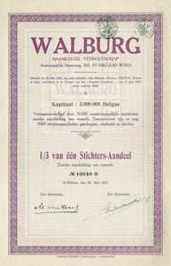 Walburg NV was a textile company from St-Niklaas. This 1/3 of a founders share from 1927 mentions a starting capital of 2,000,000 Belgas. Notice the subtle underprint that was printed by St-Michiels Drukkerij, Ledeberg-Gent.