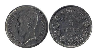 Albert King of the Belgians. 1 Belga = 5 Belgian Francs, 1932. This nickel coin was minted with Dutch text from 1930 to 1933. The obverse, showing King Albert, was engraved by G. Devreese. More info at http://en.numista.com/catalogue/pieces504.html.