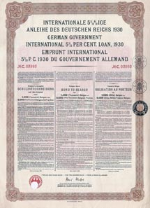German Government International 5.5% Loan 1930 in Belgas. Printed by the Reichsdruckerei and issued in Berlin August 15, 1930. This bond was part of the Belgian loan issued in the settlement program for German WWI reparations debts ('Young Plan').