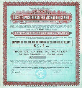 Vicinal railways company of Congo - unissued 6% 4 year savings certificate of 100 Belgas printed by Imprimerie Industrielle et Financière, 1933.