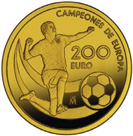 Spain / 200 Euro (4 escudos) / 999 gold / 13.5 g / 30 mm / Mintage: 4,000.