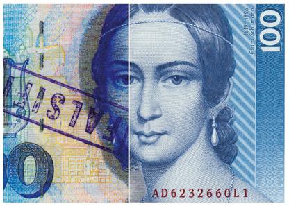 100 Deutsche Mark-Schein, 1989, Fälschung (links), Original (rechts). Foto: © HVB Stiftung Geldscheinsammlung, München.