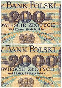 Polnischer 200-Zloty-Schein, 1976, Original (oben), Fälschung (unten). Foto: © HVB Stiftung Geldscheinsammlung, München.